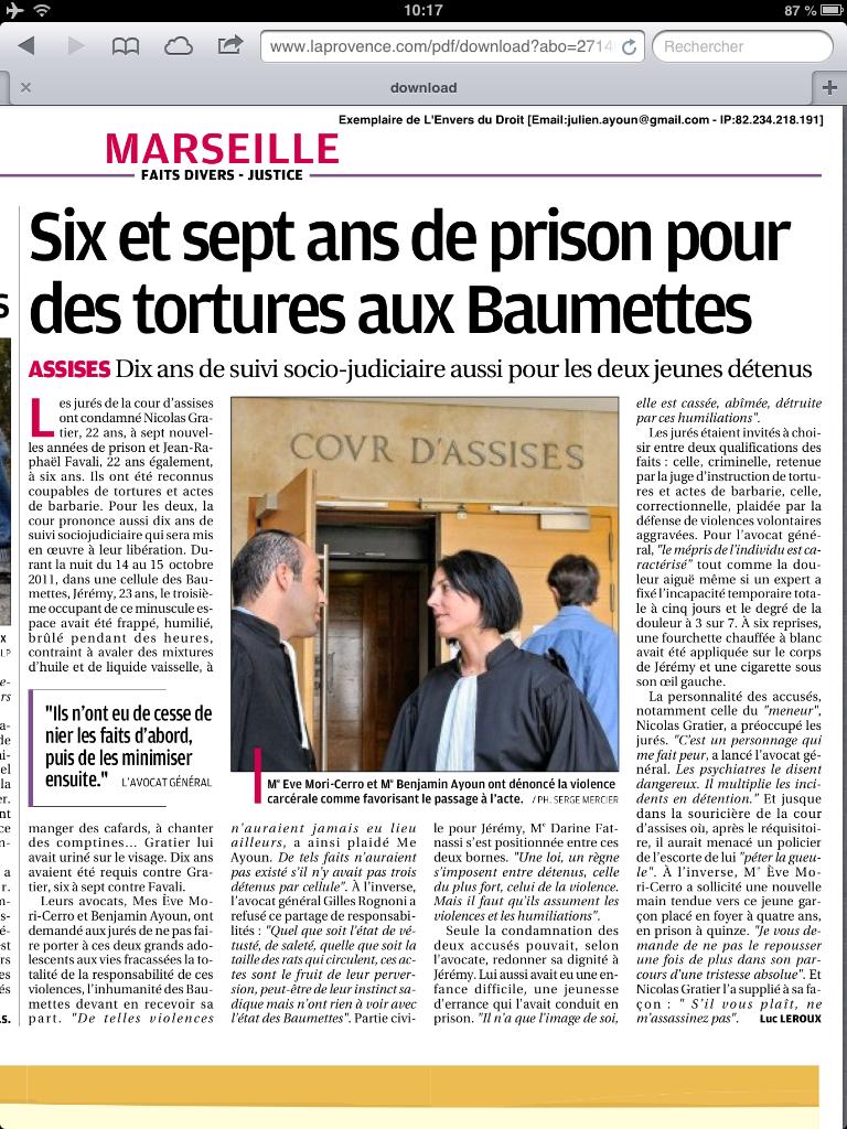 Maitre Benjamin AYOUN à la cour d'assises d'Aix-en-Provence. Acte de Torture et de Barbarie